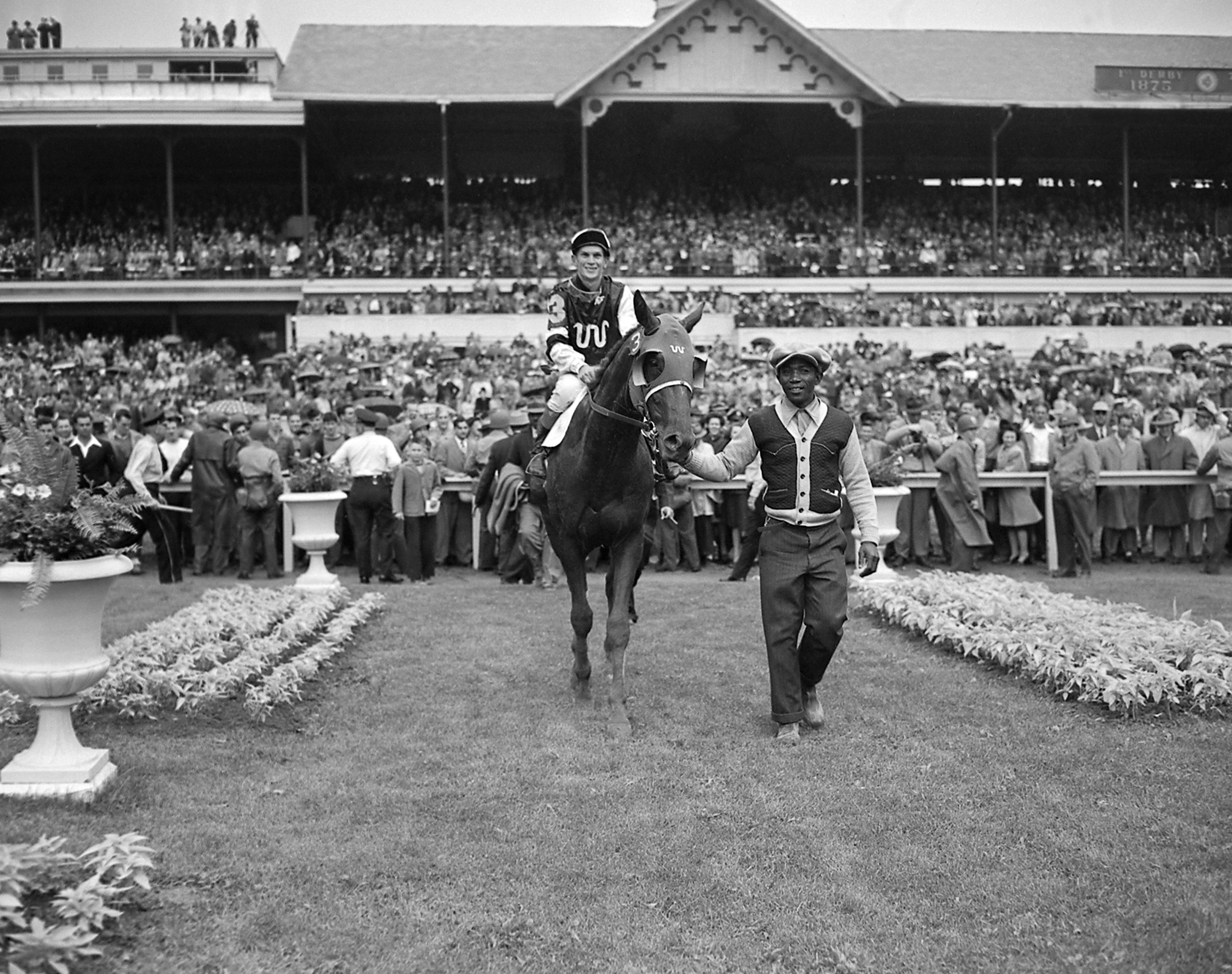 Warren Mehrtens on Assault entering the Kentucky Derby winner's circle