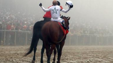 Justify winning the Preakness