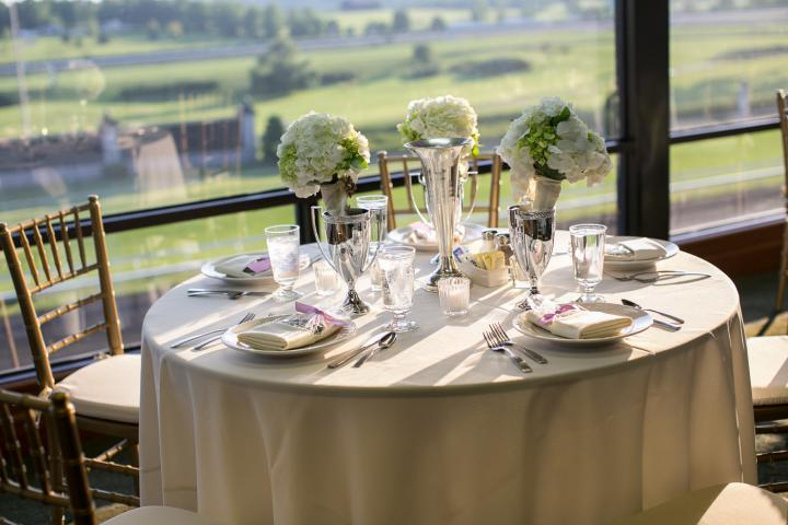 Table setting with view of the Keeneland Race Course