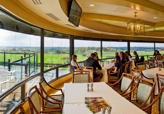 Keeneland enclosed guest area with view of track