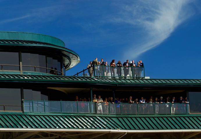 Keeneland guests on balcony