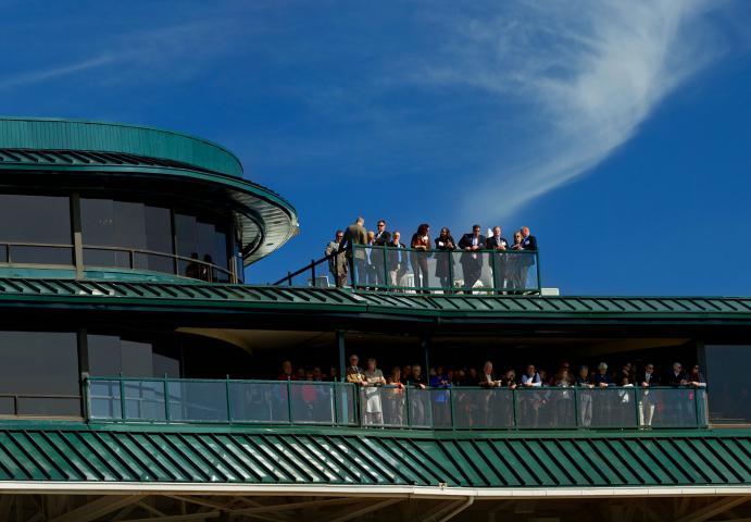 Keeneland guests on balcony