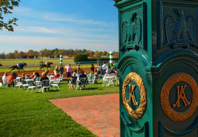 Outdoor seating for Keeneland guests