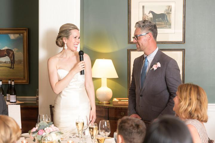 couple speaking during reception