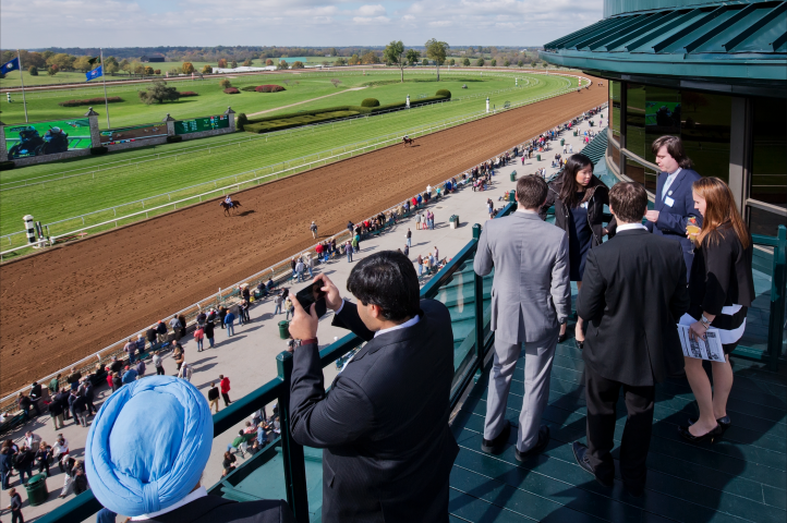 People watching races from Keeneland Room
