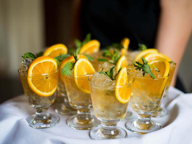 Drinks at a Keeneland Summer Wedding