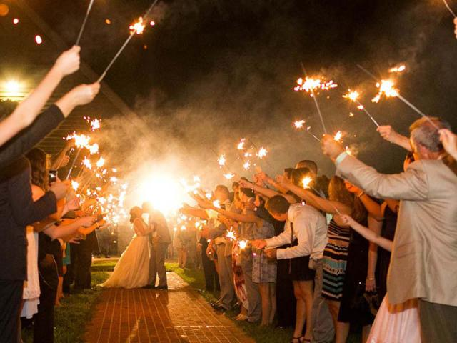 Sparklers at Keeneland Wedding
