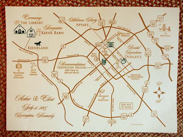 Map at Keeneland Wedding