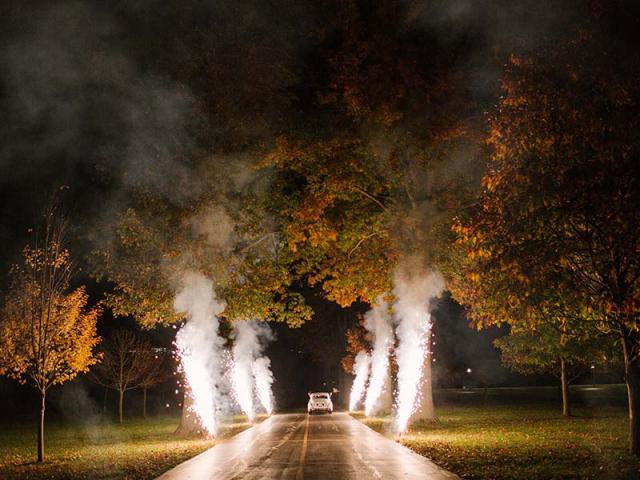 Sparklers at Keeneland Wedding