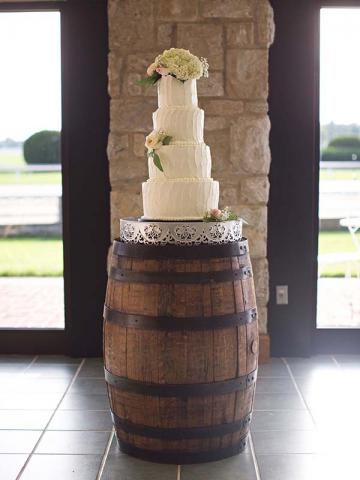 Wedding Cake on a Bourbon Barrel