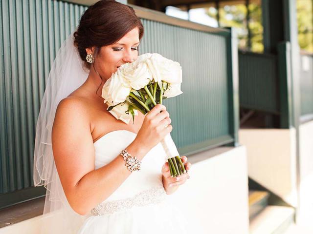 Sara smelling bouquet